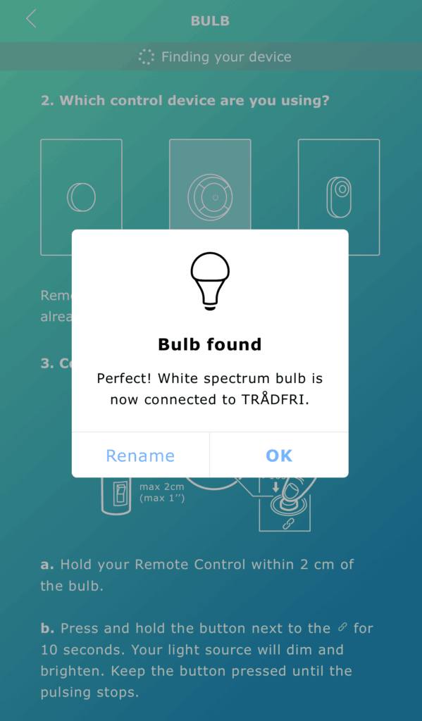 IKEA Smart lighting cant add bulb